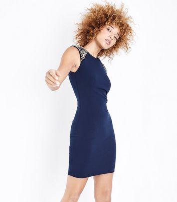 Mela Navy Embellished Shoulder Bodycon Dress New Look