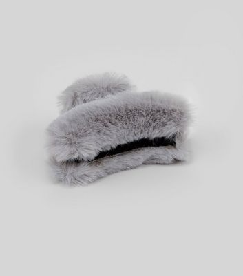 Grey Faux Fur Bulldog Clip New Look