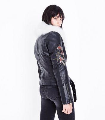 Blue Vanilla Black Embroidered Faux Fur Collar Biker Jacet New Look