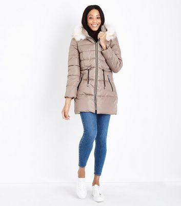 Stone Faux Fur Trim Hooded Longline Puffer Jacket New Look
