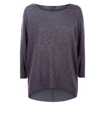 Dark Grey Fine Knit Batwing Sleeve Top New Look