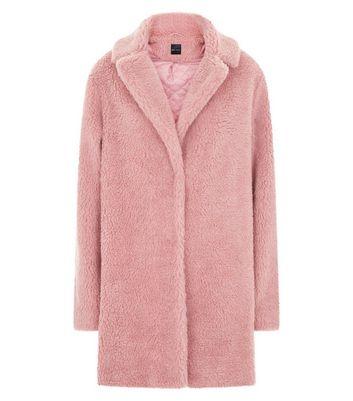 Pink Faux Fur Teddy Coat New Look