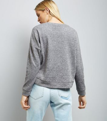 Grey Actually I Can Slogan Jumper New Look