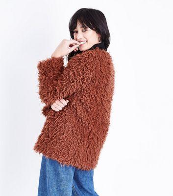 Rust Faux Sheepskin Coat New Look