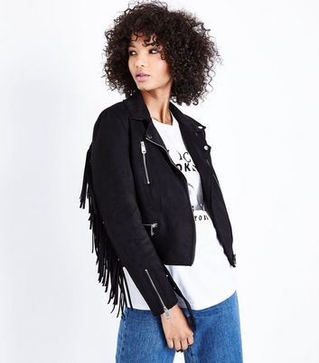 Black Suedette Fringed Biker Jacket New Look