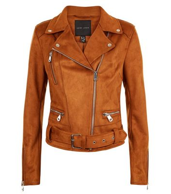 Tan Suedette Fringed Biker Jacket New Look