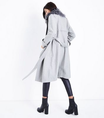 Pale Grey Faux Fur Trim Belted Midi Coat New Look