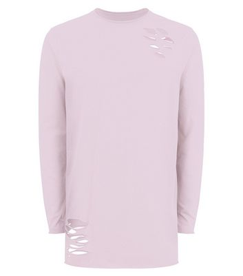 Pink Ripped Long Sleeve T-Shirt New Look