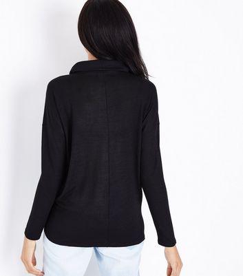 Black Fine Knit Choker Cowl Neck Top New Look