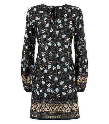 Mela Black Floral Print Tunic Dress New Look