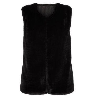 Mela Black Faux Fur Gillet New Look