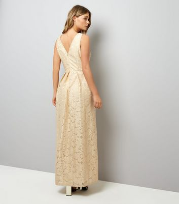 Mela Stone Leaf Embossed Maxi Dress New Look