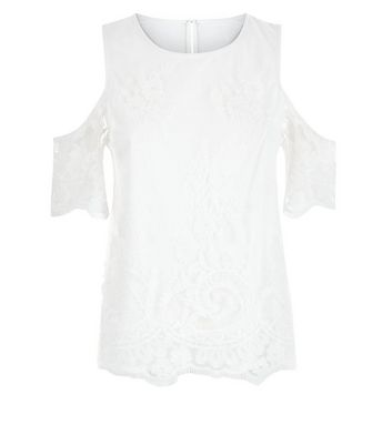 Cream Floral Embroidered Mesh Cold Shoulder Top New Look