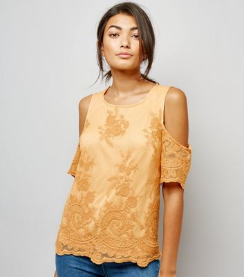 Yellow Floral Embroidered Mesh Cold Shoulder Top New Look