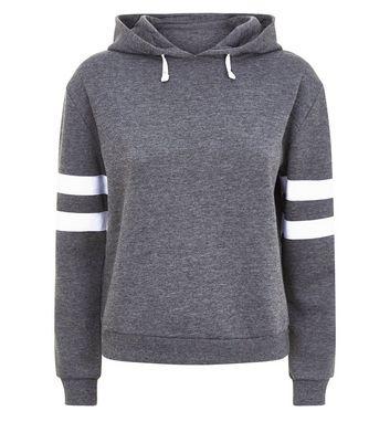 Teens Dark Grey Stripe Sleeve Hoodie New Look