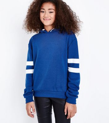 Teens Blue Stripe Sleeve Hoodie New Look