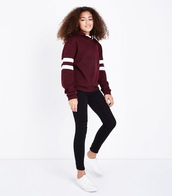Teens Burgundy Stripe Sleeve Hoodie New Look
