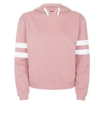 Teens Mid Pink Stripe Sleeve Hoodie New Look