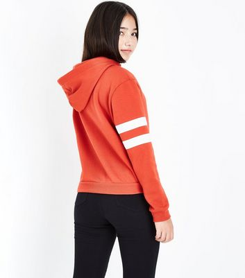 Teens Orange Stripe Sleeve Hoodie New Look