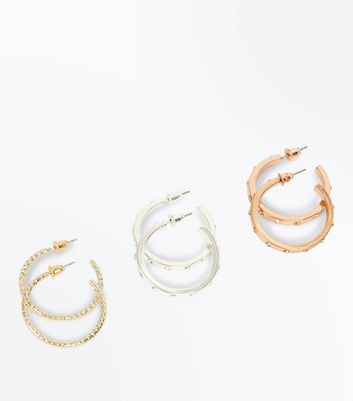 3 Pack Metallic Gem Embellished Hoop Earrings New Look