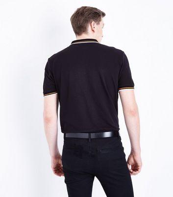 Black Contrast Trim Polo T-Shirt New Look