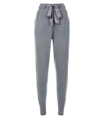 Dark Grey Satin Tie Pyjama Joggers New Look