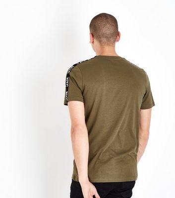 Khaki NYC Slogan Tape Sleeve T-Shirt New Look