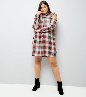 Curves White Check Ruffle Cold Shoulder Shirt Dress New Look