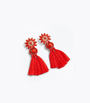 Red Flower Tassel Drop Earrings New Look