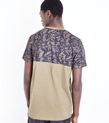 Khaki Floral Block Print T-Shirt New Look