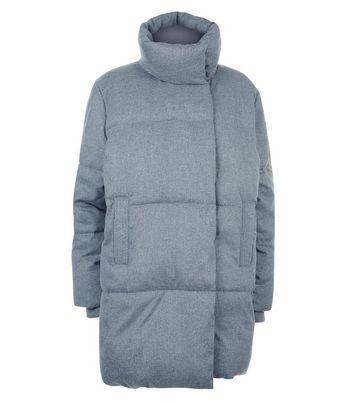 Grey Draped Puffer Jacket New Look