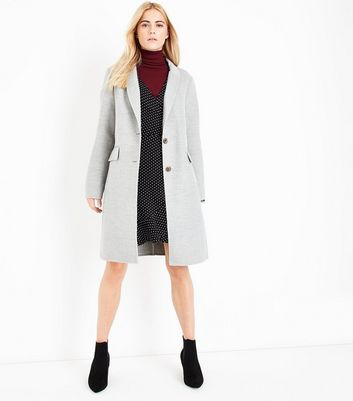 Pale Grey Hand Finished Coat New Look
