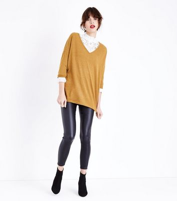 Mustard Yellow V Neck Fine Neck Top New Look