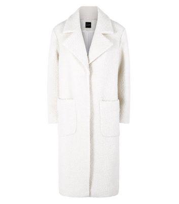 Cream Fluffy Midi Coat New Look