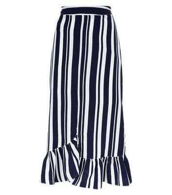 Blue Stripe Frill Hem Asymmetrical Midi Skirt New Look