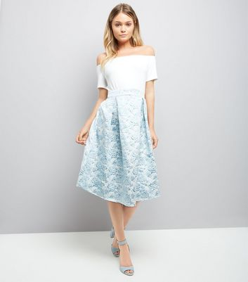 AX Paris Blue Floral Skirt Bardot Neck Dress New Look