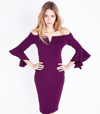 AX Paris Purple Bardot Neck Frill Sleeve Dress New Look