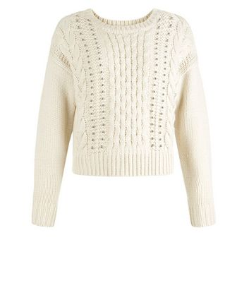 Teens Cream Cable Knit Studded Jumper New Look