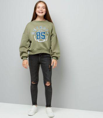 Teens Khaki Balloon Detroit Slogan Sweatshirt New Look
