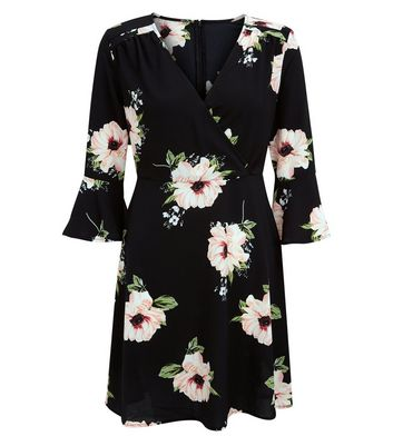 AX Paris Black Floral Print V Neck Dress New Look