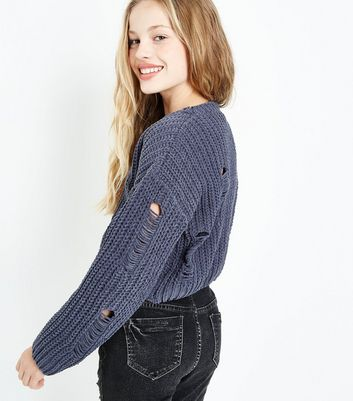 Teens Dark Grey Ladder Knit Chenille Jumper New Look