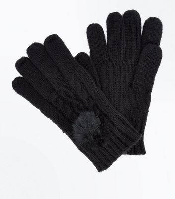 Black Cable Knit Faux Fur Pom Pom Gloves New Look