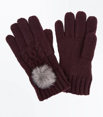Purple Cable Knit Faux Fur Pom Pom Gloves New Look