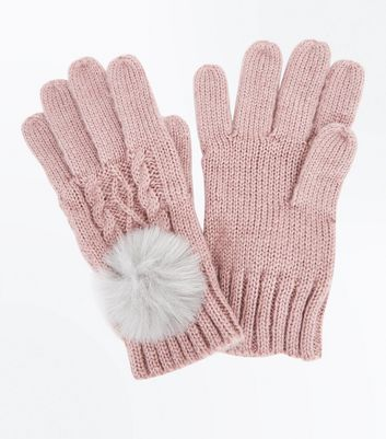 Pink Cable Knit Faux Fur Pom Pom Gloves New Look