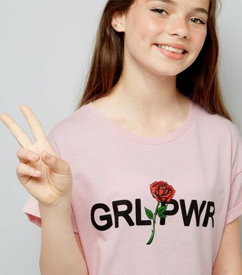 Teens Shell Pink Girl Power Crop T-Shirt New Look