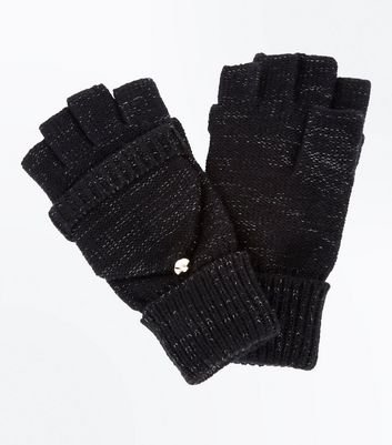 Black Textured Flip Top Gloves New Look