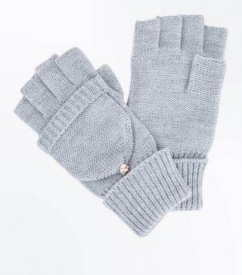 Grey Metallic Detail Flip Top Glove New Look