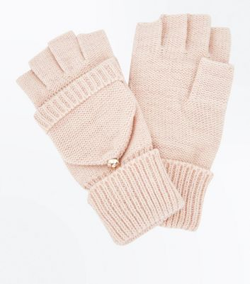 Pink Metallic Detail Flip Top Glove New Look