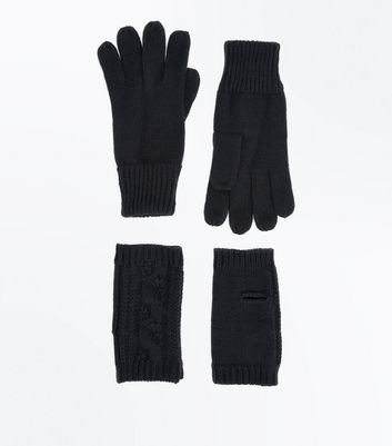Black Handwarmer And Glove Set New Look