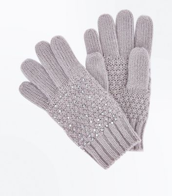 Grey Diamante Embellished Gloves New Look